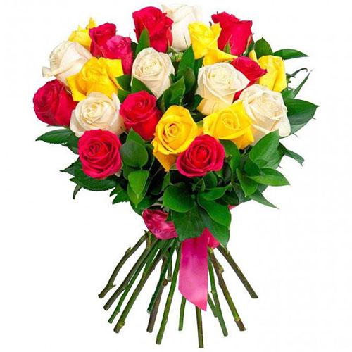 букет 21 роза микс фото