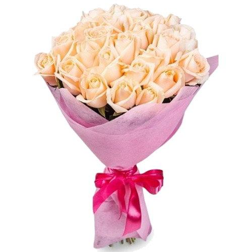 букет 25 кремовых роз фото