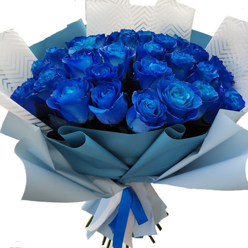 букет 33 синие розы (крашеные)