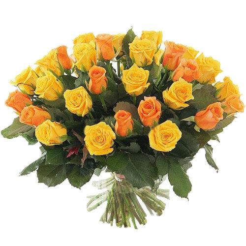 цветы с доставкой 51 желтая и кремовая роза