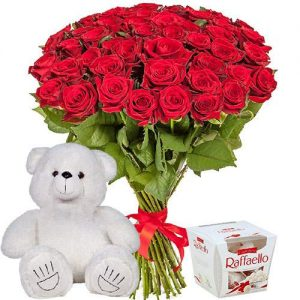 """51 роза, мишка и """"Raffaello"""" фото товара"""