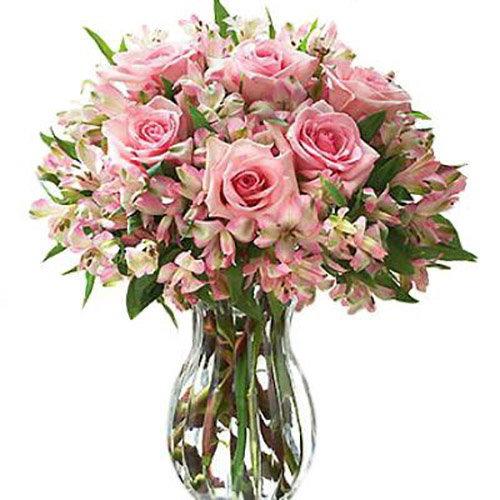 """Букет """"Нежное настроение"""" розовые розы и альстромерии"""