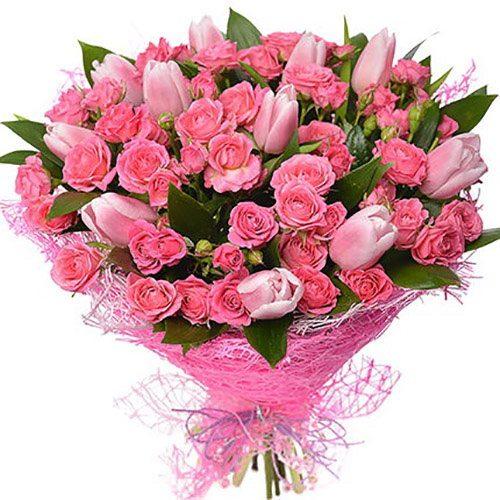 """Букет """"Чары"""" розы и тюльпаны фото"""
