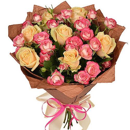 букет Кремовая роза и спрей