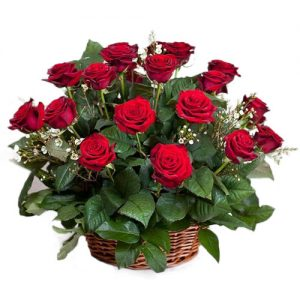21 красная роза в корзине фото букета
