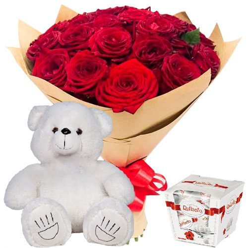 """фото товара 25 роз, """"Raffaello"""" и мишка"""