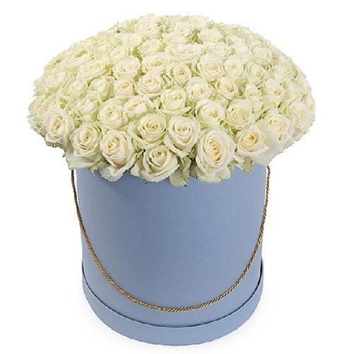 букет 101 роза белая в шляпной коробке