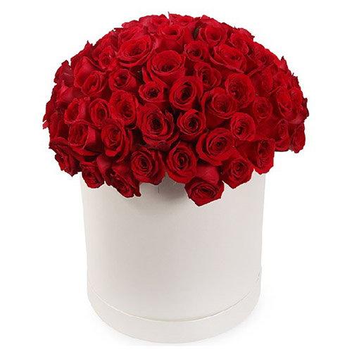 101 роза красная в шляпной коробке фото букета