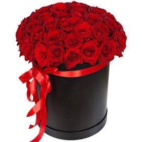 51 роза красная в шляпной коробке фото товара