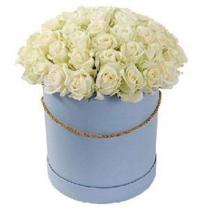 51 роза белая в шляпной коробке фото