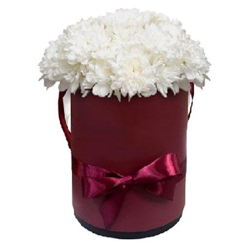 """Шляпная коробочка """"Кудрявая"""" белые хризантемы фото"""