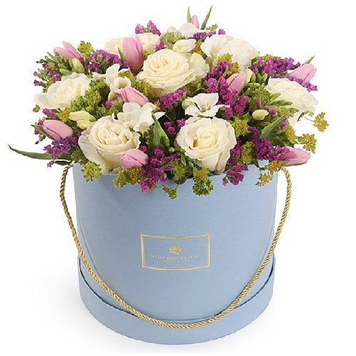 """Шляпная коробочка """"Светлые чувства"""" микс цветов"""
