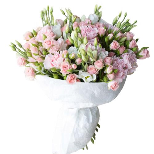 """Букет """"Любимой"""" бело-розовые эустомы"""