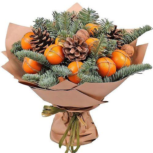 Фото товара Новогодний букет с мандаринами