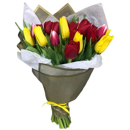 Фото товара 21 красно-жёлтый тюльпан в двойной упаковке