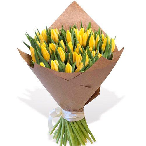 """Фото товара 45 жёлтых тюльпанов """"Золотое руно"""""""