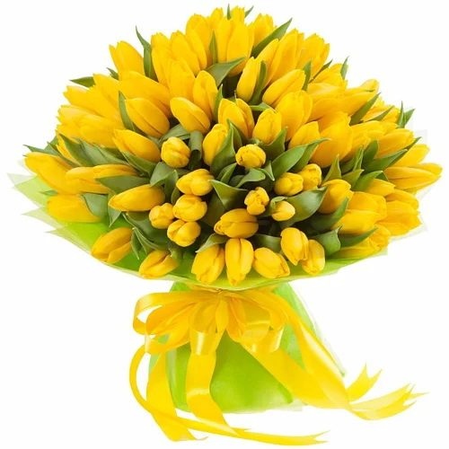"""Фото товара 75 жёлтых тюльпанов """"Сияние золота"""""""