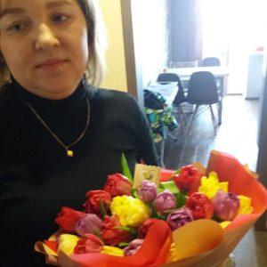 букет 25 тюльпанов микс фото