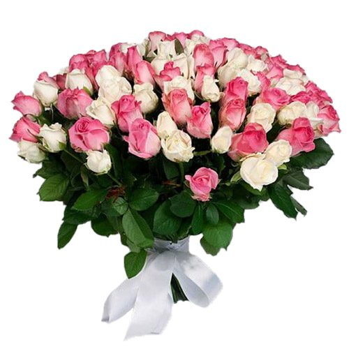 Фото товара 101 белая и розовая роза